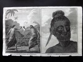 Cook, Anderson, Hogg 1784 Antique Print. Boxing Match in Hapaee. Man of Mangea